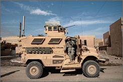 A patrolling soldier in Baghdad relies on his MRAP, a vehicle proven to save American lives in a war where roadside explosives have become the norm.