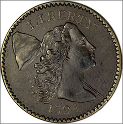 This 1794 large cent is about the size of a modern quarter-dollar.