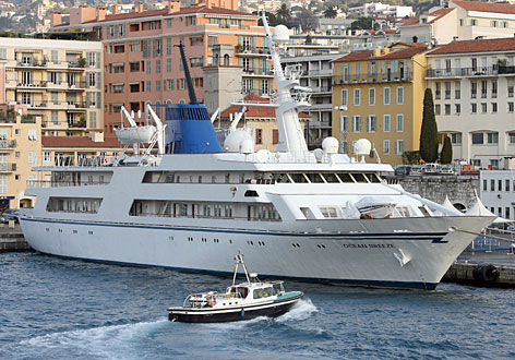 The 270-foot-long Ocean Breeze, built for former Iraqi dictator Saddam Hussein is at quay in the French southern city of Nice, Dec. 15. The yacht, which has an asking price of 23.5 million euros, is caught in an ownership dispute.