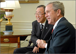 President Bush shakes hands with U.N. Secretary General Ban ki-Moon, left, after meeting in the Oval Office on Friday to discuss Kosovo and other issues. On Monday, President Bush extended formal recognition to Kosovo.
