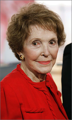 Former first lady Nancy Reagan, wife of the late Pres. Ronald Reagan, at a Republican residential debate at the Ronald Reagan Presidential Library in Simi Valley, Calif., on Jan. 30. Reagan was released from the hospital Tuesday after falling at home on Sunday.