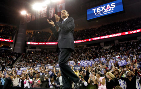 Democratic presidential hopeful Sen. Barack Obama of Illinois during a rally in Houston on Tuesday. Obama won the Democratic primary in Wisconsin on Tuesday.