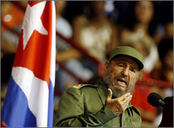 File photo from March 2006 of Cuba's former president Fidel Castro speaking in Havana, Cuba. Castro resigned from his position Tuesday morning after leading the country for nearly 50 years.