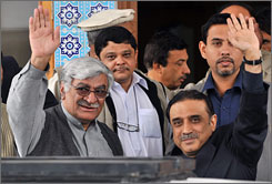 Benazir Bhutto's widower, Asif Ali Zardari, right, and Asfandyar Wali Khan, left, chief of the Awami National Party, wave after their meeting in Islamabad on Thursday. Their potential coalition could topple Musharraf.
