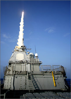 The USS Lake Erie launches a missile at a non-functioning satellite Wednesday.