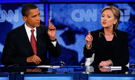 Sen. Barack Obama of Illinois, left, and Sen. Hillary Rodham Clinton of New York, right, faced off in a critical debate in Austin Thursday. Texas votes on March 4.