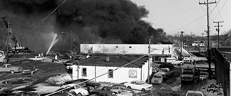 Crews battle a fierce blaze after the explosion of a tanker carrying 28,000 gallons of liquid petroleum gas in Waverly, Tenn. on February 24, 1978.
