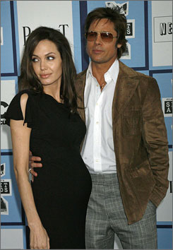 Angelina Jolie and Brad Pitt arrive at the 2008 Film Independent's Spirit Awards.