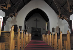 The inside of the Yellowstone National Park Chapel. A new survey on religious attitudes finds that 44% say they're no longer tied to the religious or secular upbringing of their childhood. They've changed religions or denominations, adopted a faith for the first time or abandoned any affiliation altogether.