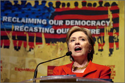 "Sen. Hillary Clinton, D-N.Y., speaks at the ""State Of The Black Union"" symposium at the Ernest E. Morial Convention Center in New Orleans. Clinton earlier accused Obama of misrepresenting to voters her healthcare and NAFTA positions."