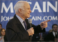 Likely GOP nominee John McCain speaks in Rocky River, Ohio on Monday.