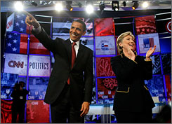 Dueling for Texas, Barack Obama and Hillary Rodham Clinton take the stage Thursday at a debate at the University of Texas in Austin. Clinton has support in the Rio Grande Valley, but younger people may lean toward Obama.