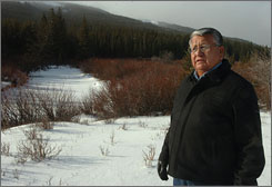 Roger Running Crane, vice chairman of the Blackfeet Tribal Council, walks along Cut Bank Creek in Montana, one of the principal water sources on the reservation. The council is in negotiations with state and federal agencies to spell out water rights.