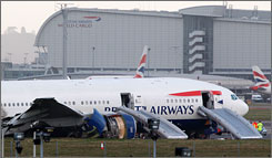 A British Airways plane sits following an emergency landing at Heathrow Airport in London on Jan. 17.