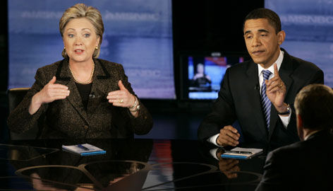 Sen. Hillary Clinton and Sen. Barack Obama face off in Tuesday's Democratic debate in Cleveland. 