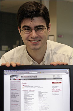 Dustin Darcy, a video game programmer in Los Angeles, enjoys MIT's Open Courseware, which puts some the top university's class syllabi, lecture notes, tests and more online for free.