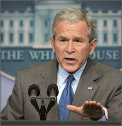 "Bush discussed the surveillance bill and recession fears Thursday. On the surveillance bill, Bush said U.S. telecommunications companies helped the government after being told ""that their assistance was legal and vital to national security."""
