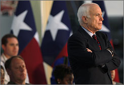 GOP presidential candidate Sen. John McCain spoke at Texas Instruments in Richardson, Texas, Thursday. He says being born in a U.S. territory (Panama Canal Zone) while his father was stationed there in the Navy makes him a &quot;natural-born citizen.&quot;