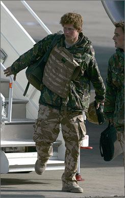 Prince Harry disembarked Saturday at a Royal Air Force base northwest of London.