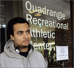 Harvard University student Kareem Shuman, 21, was turned away from the gym during women-only hours that recently were instituted at the center. Shuman, a Muslim, said he was sympathetic to the policy instituted at the request of some Muslim women who, for religious and cultural reasons, cannot exercise comfortably in the presence of men.