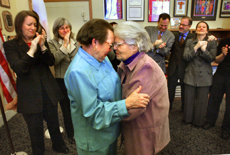 Phyllis Lyon (L) and Del Martin were the first gay couple to be married ...