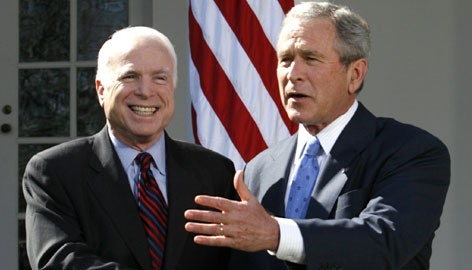 President Bush and presumptive Republican presidential nominee Sen. John McCain met at the White House on Wednesday in Washington.