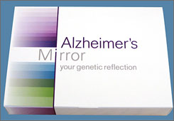 "The packaging for ""Alzheimer's Mirror,"" the test kit that will let consumers see if they have a predisposition for late-onset Alzheimer's."