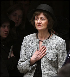 U.S. District Judge Joan Humphrey Lefkow attends her husband's funeral in March 2005. Lefkow's husband and mother were murdered in her home.