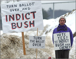 Brian Shafford, of Brattleboro, Vt., stood outside Brattleboro Union High School on Tuesday as voters went to the polls.