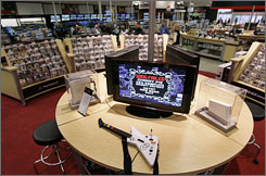 A game-playing area sits in the centerpiece of the game section at the newly redesigned Circuit City store in Richmond, Va.
