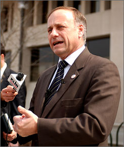 Rep. Steve King, R-Iowa, seen here in an April 2004 file photo taken in Lincoln, Neb.