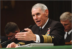 Adm. William Fallon, commander of the U. S. Central Command, testified on Capitol Hill before the Senate Armed Services Committee in May 2007 and March 4, 2008.