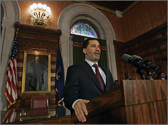 New York Lt. Gov. David Paterson speaks Thursday at the state Capitol in Albany, N.Y., before he takes over for Gov. Eliot Spitzer on Monday.