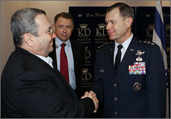 Lt. Gen. William Fraser, who was sent by President Bush to monitor Israeli-Palestinian peace plans, shakes hands with Israeli Defense Minister Ehud Barak at the King David Hotel in Jerusalem, in January. Today, Lt. Gen. Fraser is meeting with representatives from both sides at the hotel.