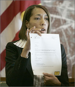The Detroit Free Press sought access to text messages sent between Detroit Mayor Kwame Kilpatrick and his former chief of staff, Christine Beatty, sen here in a photo from last August. The newspaper was denied access to the messages through a records request, but through an other source, it was able to get about 14,000 text messages on Beatty's city-issued pager from 2002 and 2003.