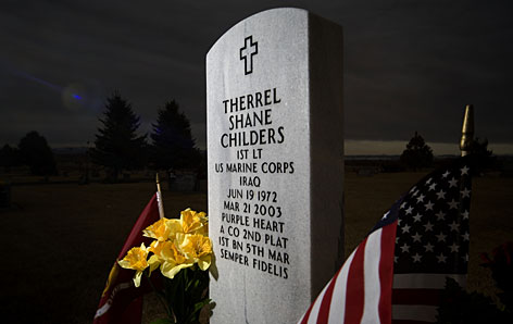 This headstone marks the grave of Marine Lt. Shane Childers, the first member of the U.S. military to die in the ground war in Iraq. Five years into the war, 155,000 American troops are still on the ground there and a large U.S. presence is likely for many more years.