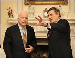 U.S. Republican presidential candidate John McCain, left, meets with British Prime Minister Gordon Brown at 10 Downing Street in central London, Thursday.