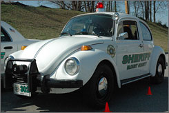 "The Blount County Sheriff's Office's ""new"" 1973 Volkswagen Beetle cruiser, pictured on March 22 in Maryville, Tenn, was refashioned after being seized in a DUI case."