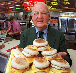 Herb Peterson, the creator of the Egg McMuffin, shows off his invention in this April 1997.