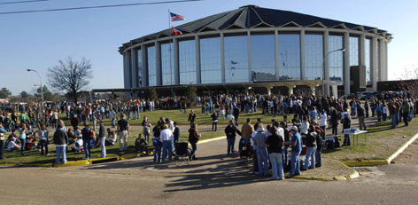 'The Big House': People crowd outside the Mississippi Coliseum in February. The University of Mississippi won't play in the 46-year-old venue after one game in 2009.