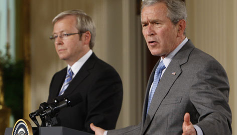 President Bush and Australian Prime Minister Kevin Rudd hold a joint news conference in the East Room at the White House in Washington.