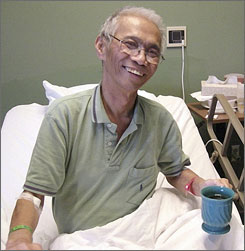Photographer Dith Pran in his room at Roosevelt Care Center in Edison, N.J. Dith died from pancreatic cancer at age 65.