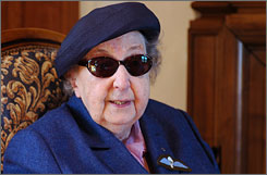 Late British wartime secret agent Pearl Cornioley, seen here in Chateauvieux, France, in an April 2006 file photo, died in February at the age of 93. Cornioley helped the French Resistance during World War II.