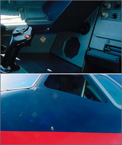 These images show a purported bullet hole in a US Airways jet. The hole is shown in the left third of the top photo and the lower center of the bottom photograph. A gunshot fired from a pistol belonging to the pilot blasted a small hole through the plane's cockpit wall.