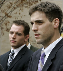 Co-defendants Joseph T. LePore, right, and Sean Ryan, left, stand outside the Essex County courthouse in Newark, N.J., Nov. 15, 2006. LePore and Ryan, two former Seton Hall University roommates were charged and plead guilty to setting a dorm fire that killed three students at the university in January 2000.