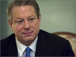 "Former vice-president Al Gore speaks  in Oslo, Norway,  Dec. 10, 2007 where he also accepted the Nobel Peace Prize alongside U.N. climate panel's chief scientist for what Gore calls a ""planetary emergency."""