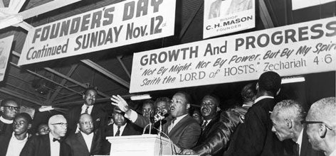 "Martin Luther King Jr. delivers his famous sermon, ""I've been to the mountain top"" on the eve of his assasination at the Mason Temple in Memphis PHOTO GALLERY"