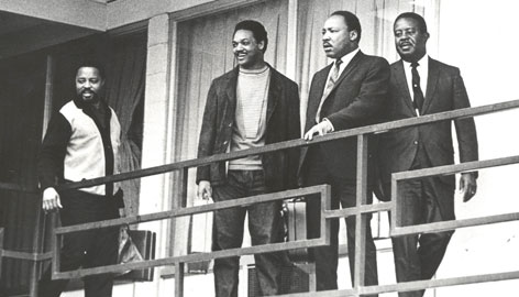 The Rev. Martin Luther King Jr., second from right, was assassinated on April 4, 1968, on the balcony of the Lorraine Motel in Memphis. He is seen here shortly before his death with (from left) aides Hosea Williams, Jesse Jackson Jr., and Ralph Abernathy.