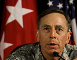 Gen. David Petraeus, the top U.S. commander in Iraq is to testify before Congress on Tuesday and Wednesday on the situation in Iraq. He has said he supports a pause in troop withdrawals this summer.