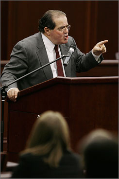 On Monday, U.S. Supreme Court Associate Justice Antonin Scalia spoke at the Roger Williams University law school in Bristol, R.I. Justice Scalia is on a media blitz connected to the publication of a book he co-authored on legal arguments.